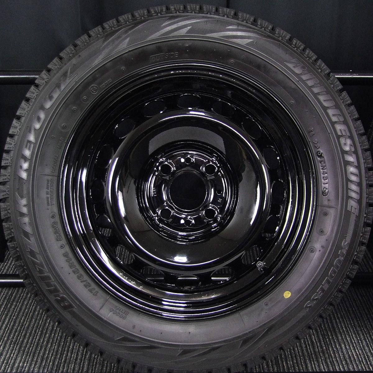 FIAT 500 純正 ブラックスチール BRIDGESTONE BLIZZAK REVO-GZ 175/65R14 4本SET