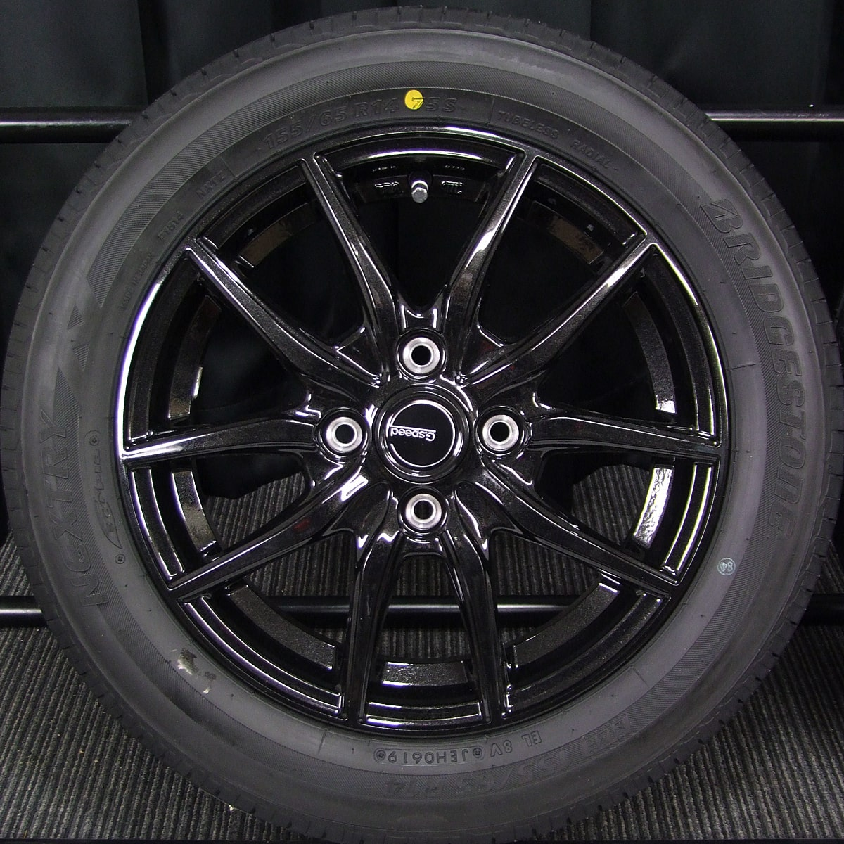 HOT STUFF G.speed G-02 ブラックメタリック BRIDGESTONE NEXTRY 155/65R14 4本SET