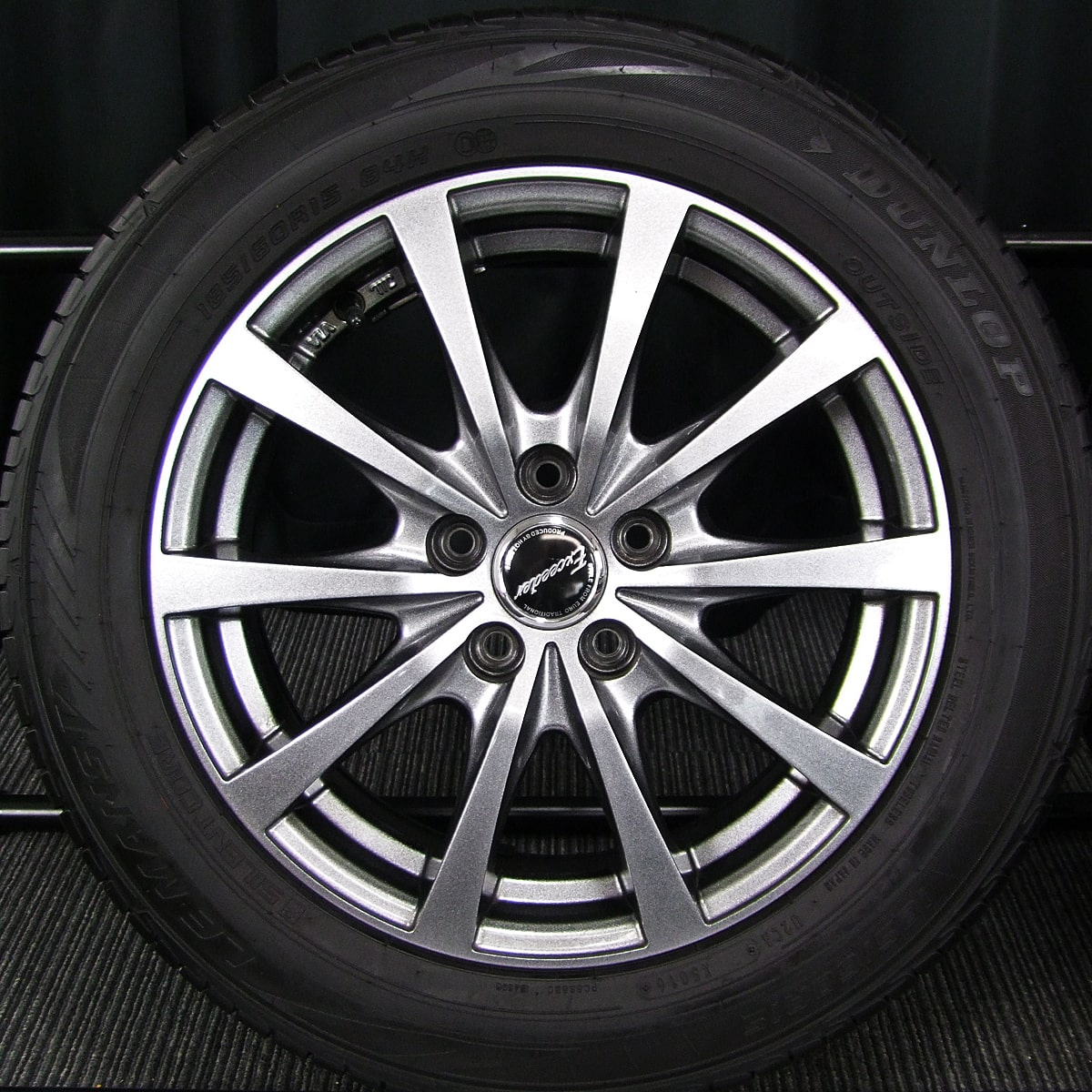 HOT STUFF Exceeder E03 ダークシルバー DUNLOP LE MANS V 185/60R15 4本SET