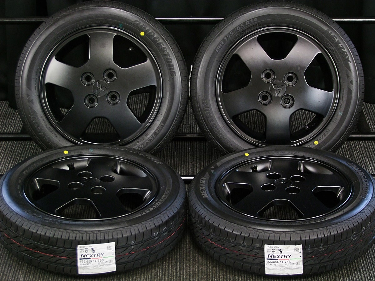 MITSUBISHI (三菱) TOPPO BJ (トッポBJ) 純正 14×4.5J(+46)PCD100-4H リメイク マットブラック BRIDGESTONE (ブリヂストン) NEXTRY (ネクストリー) 新品 155/65R14 タイヤホイール 4本