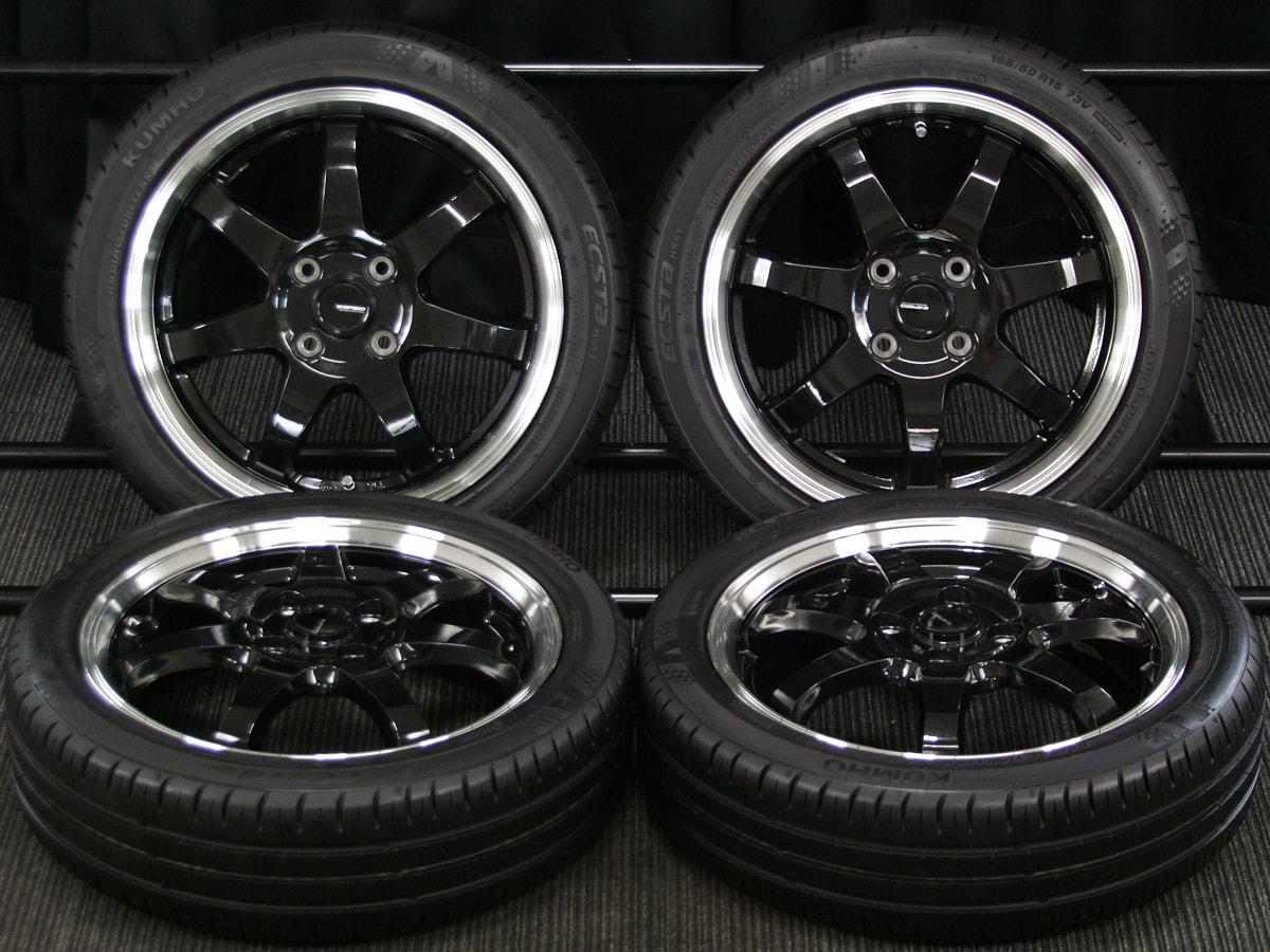 HOT STUFF G.speed P-03 ブラックメタリック KUMHO ECSTA HS51 165/50R15 4本SET