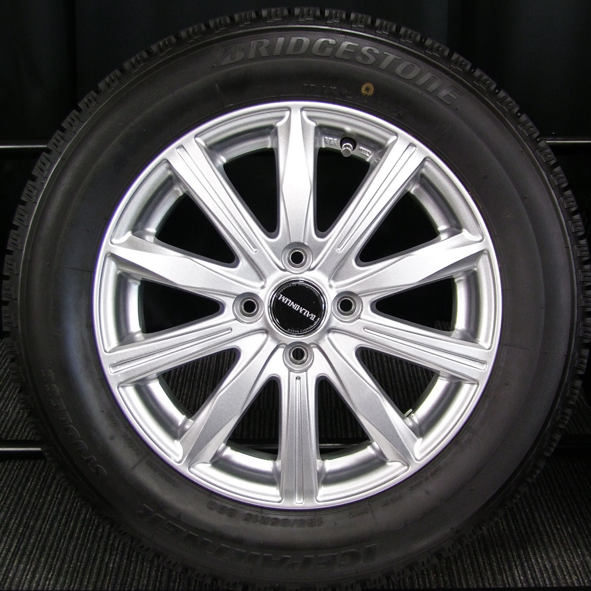 BRIDGESTONE BALMINUM KR10 シルバー BRIDGESTONE ICE PARTNER 185/65R15 4本SET